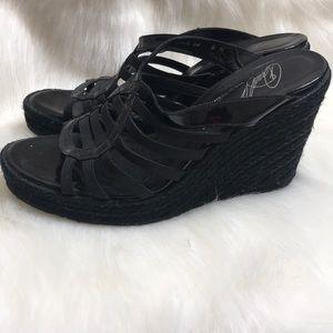 Donald J Pliner black wedge sandals